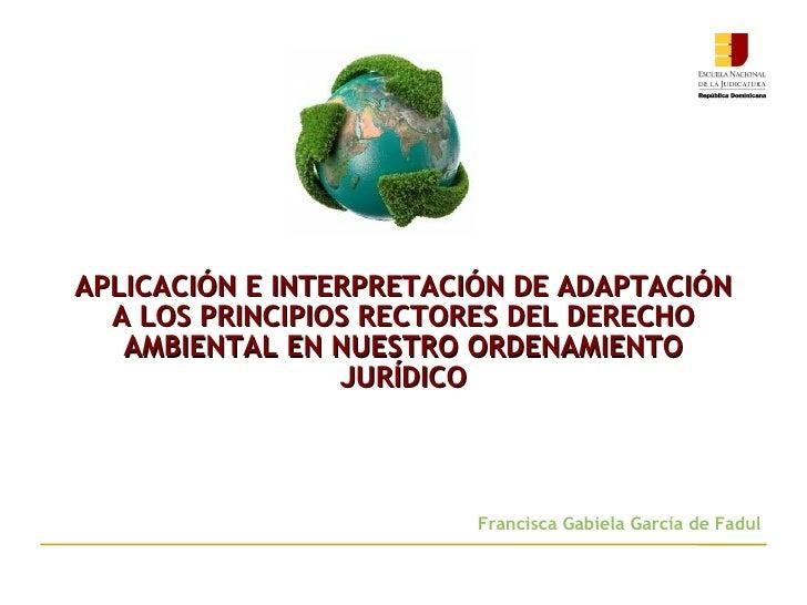 APLICACIÓN E INTERPRETACIÓN DE ADAPTACIÓN  A LOS PRINCIPIOS RECTORES DEL DERECHO   AMBIENTAL EN NUESTRO ORDENAMIENTO      ...