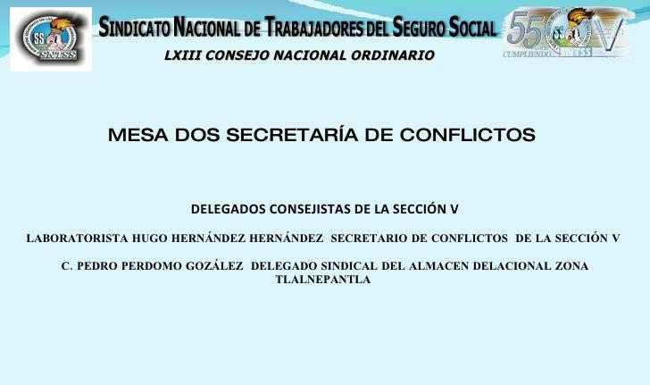 LXIII CONSEJO NACIONAL ORDINARIO               MESA DOS SECRETARÍA DE CONFLICTOS                        DELEGADOS CONSEJIS...