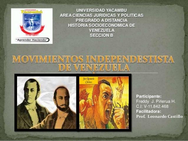 UNIVERSIDAD YACAMBU AREA CIENCIAS JURIDICAS Y POLITICAS PREGRADO A DISTANCIA HISTORIA SOCIOECONOMICA DE VENEZUELA SECCION ...