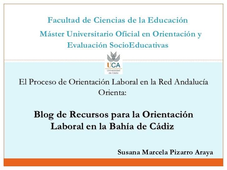 Facultad de Ciencias de la Educación    Máster Universitario Oficial en Orientación y Evaluación SocioEducativas   El Proc...