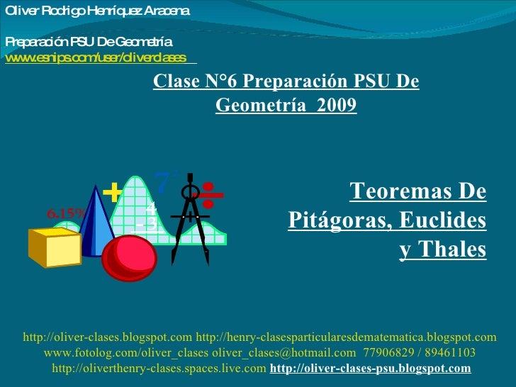 Clase N°6 Preparación PSU De Geometría  2009 Teoremas De Pitágoras, Euclides y Thales http://oliver-clases.blogspot.com   ...