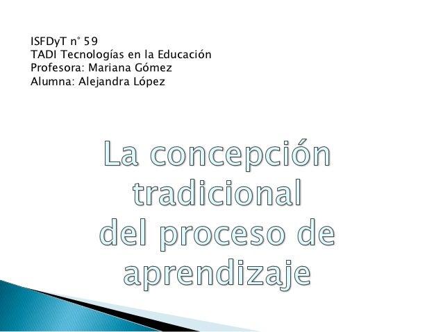 ISFDyT n° 59TADI Tecnologías en la EducaciónProfesora: Mariana GómezAlumna: Alejandra López