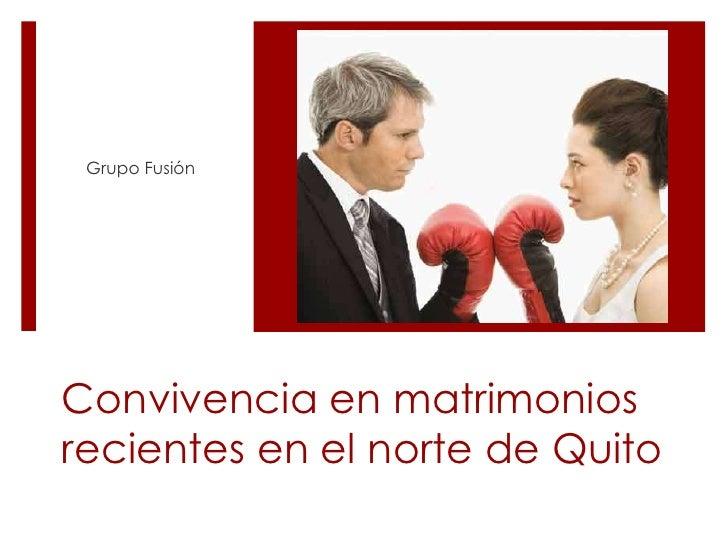 Grupo Fusión<br />Convivencia en matrimonios recientes en el norte de Quito<br />