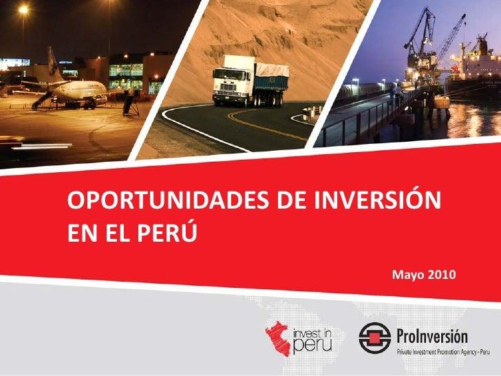 Oportunidades de Inversión  Proinversión Mayo 2010
