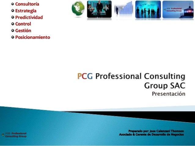 Consultoría Estrategia Predictividad Control Gestión Posicionamiento Preparado por: Jose Calenzani Thomson Asociado & Gere...