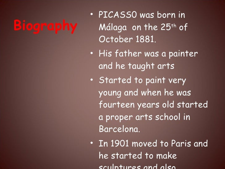 an introduction to the life of pablo picasso a painter from malaga Pablo picasso, born pablo ruiz y blasco, came into the world on the 25th of october 1881 in the southern spanish town of malaga pablo was an artist from early in his life – he was a child prodigy he began his career as a classical painter he painted things such as portraits and landscapes but this style didn't satisfy.