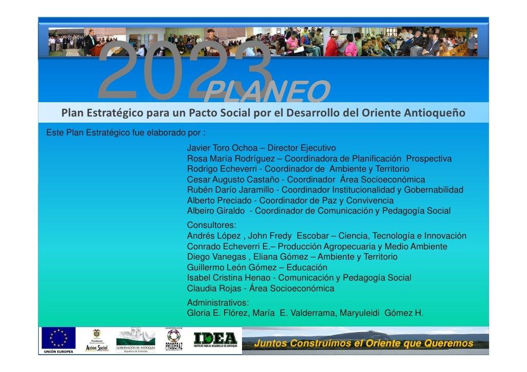 2023                       PLANEO    Plan Estratégico para un Pacto Social por el Desarrollo del Oriente Antioqueño Este P...
