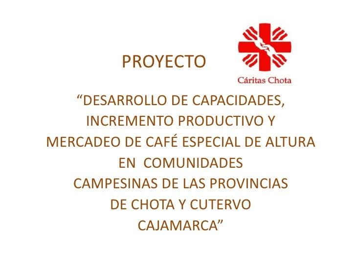 """PROYECTO <br />""""DESARROLLO DE CAPACIDADES, <br />INCREMENTO PRODUCTIVO Y<br />MERCADEO DE CAFÉ ESPECIAL DE ALTURA <br..."""