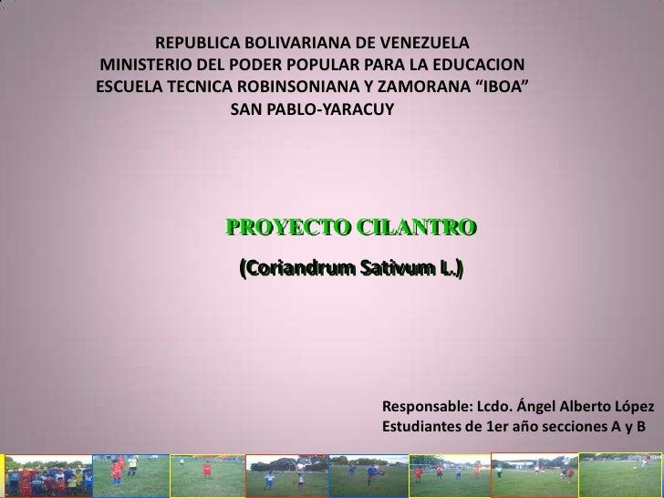 REPUBLICA BOLIVARIANA DE VENEZUELA<br />MINISTERIO DEL PODER POPULAR PARA LA EDUCACION<br />ESCUELA TECNICA ROBINSONIANA Y...