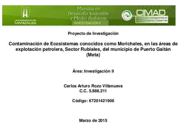 Proyecto de Investigación Contaminación de Ecosistemas conocidos como Morichales, en las áreas de explotación petrolera, S...