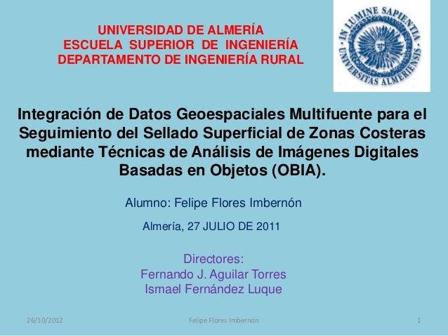 UNIVERSIDAD DE ALMERÍA          ESCUELA SUPERIOR DE INGENIERÍA         DEPARTAMENTO DE INGENIERÍA RURALIntegración de Dato...