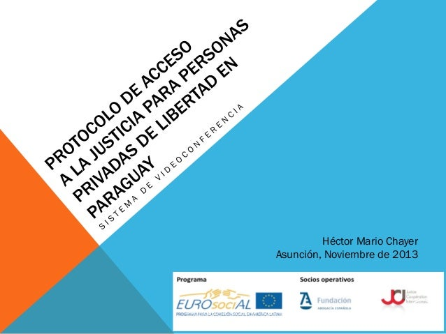 Presentación Proyecto Protocolo de acceso a la justicia para personas privadas de libertad en Paraguay / Héctor Mario Chayer