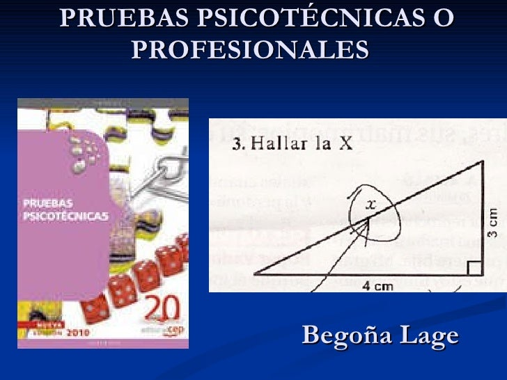 PRUEBAS PSICOTÉCNICAS    PRUEBAS PSICOTÉCNICAS O PROFESIONALES  Begoña Lage g