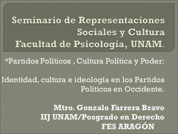 Partidos políticos, cultura política y poder.