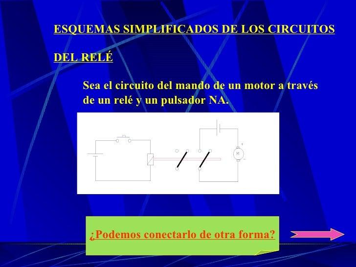 ESQUEMAS SIMPLIFICADOS DE LOS CIRCUITOS DEL RELÉ Sea el circuito del mando de un motor a través de un relé y un pulsador N...