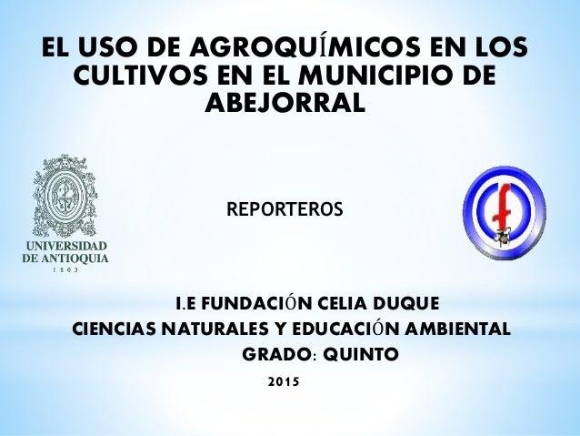 EL USO DE AGROQUÍMICOS EN LOS CULTIVOS EN EL MUNICIPIO DE ABEJORRAL REPORTEROS I.E FUNDACIÓN CELIA DUQUE CIENCIAS NATURALE...