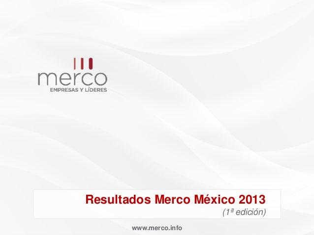 Resultados Merco México 2013 (1ª edición) www.merco.info
