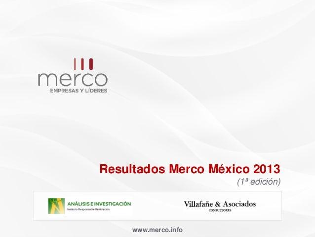 Presentación resultados Merco México 2013