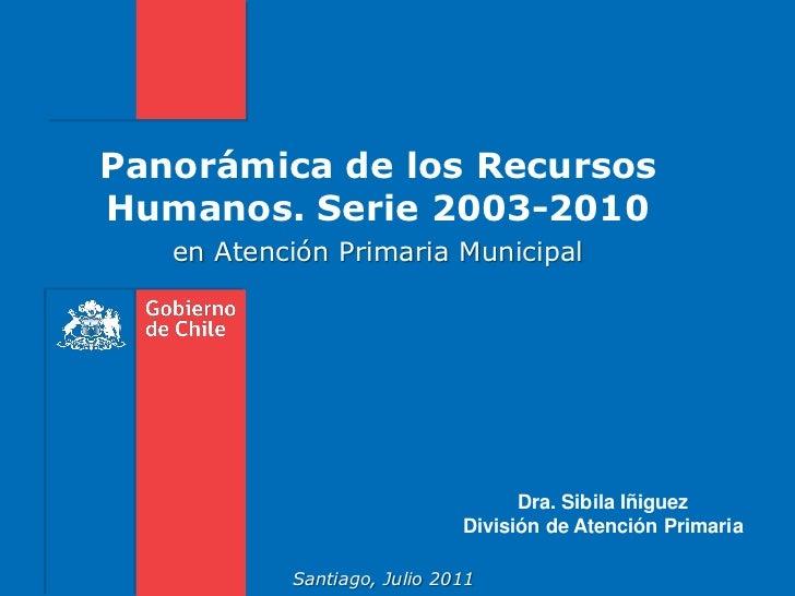 Panorámica de los RecursosHumanos. Serie 2003-2010   en Atención Primaria Municipal                                   Dra....