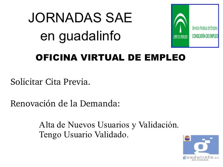 Oficina virtual de empleo sae for Oficina virtual de empleo cita previa inem