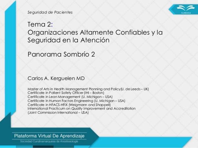 Seguridad de Pacientes Tema 2: Organizaciones Altamente Confiables y la Seguridad en la Atención Panorama Sombrío 2 Carlos...