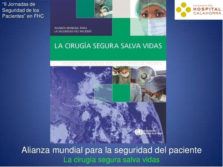 """""""II Jornadas deSeguridad de losPacientes"""" en FHC       Alianza mundial para la seguridad del paciente                    L..."""