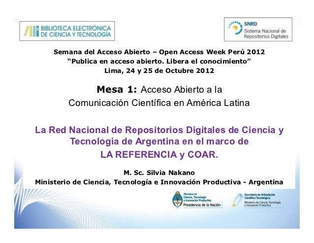 La Red Nacional de Repositorios Digitales de Ciencia y Tecnología de Argentina