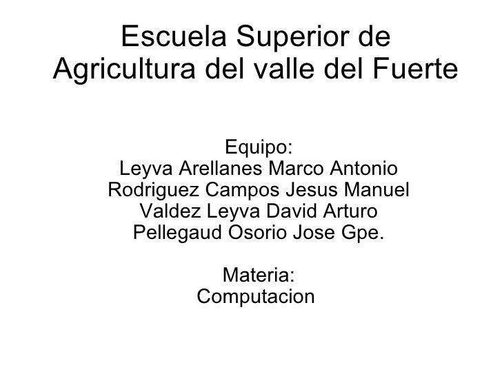 Escuela Superior de Agricultura del valle del Fuerte Equipo: Leyva Arellanes Marco Antonio Rodriguez Campos Jesus Manuel V...