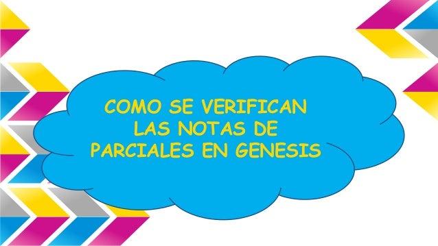 COMO SE VERIFICAN  LAS NOTAS DE  PARCIALES EN GENESIS