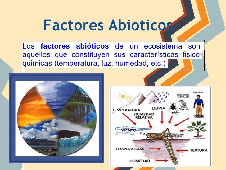 Factores AbioticosLos factores abióticos de un ecosistema sonaquellos que constituyen sus características fisico-quimicas ...