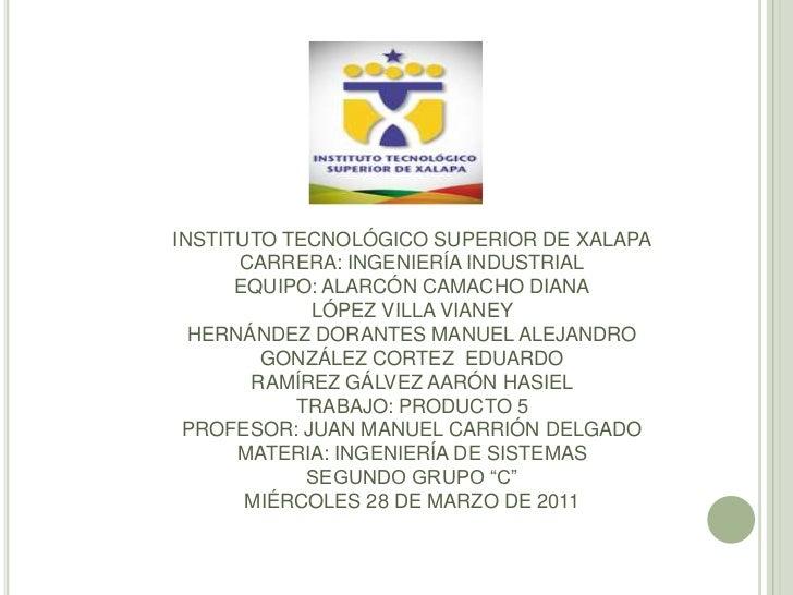 INSTITUTO TECNOLÓGICO SUPERIOR DE XALAPA      CARRERA: INGENIERÍA INDUSTRIAL      EQUIPO: ALARCÓN CAMACHO DIANA           ...