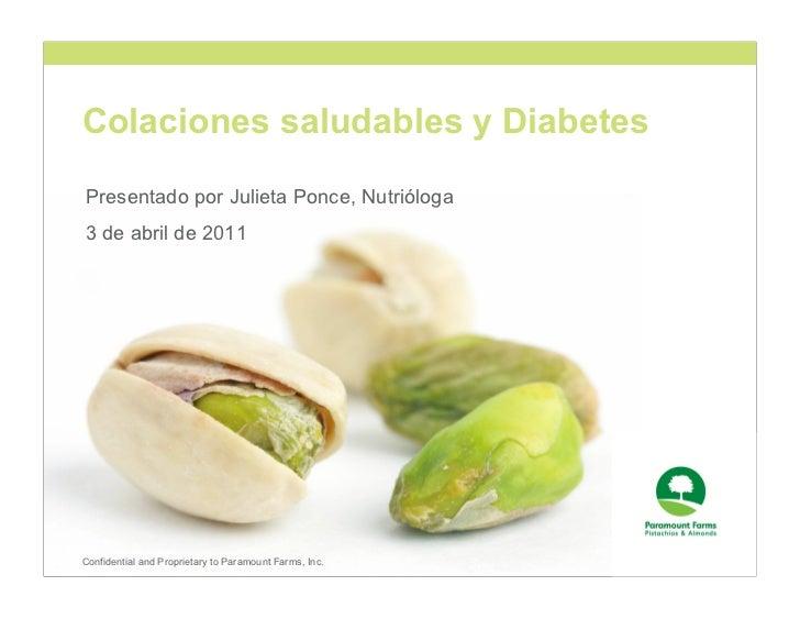 Colaciones saludables y DiabetesPresentado por Julieta Ponce, Nutrióloga3 de abril de 2011Confidential and Proprietary to ...