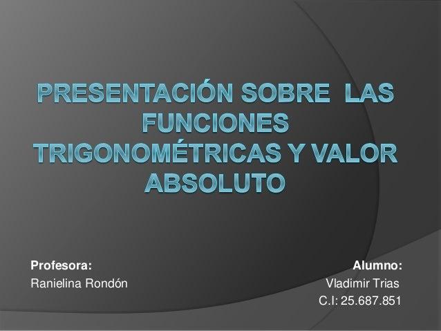 Profesora: Alumno: Ranielina Rondón Vladimir Trias C.I: 25.687.851