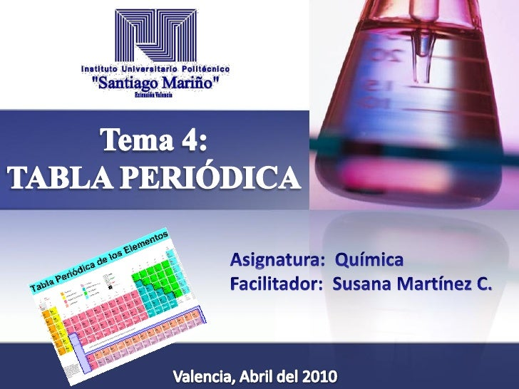 Ing. Susana Martínez C.Tabla de los elementos químicos, escrita en orden secuencial denúmero atómico y dispuesta en 7 hile...