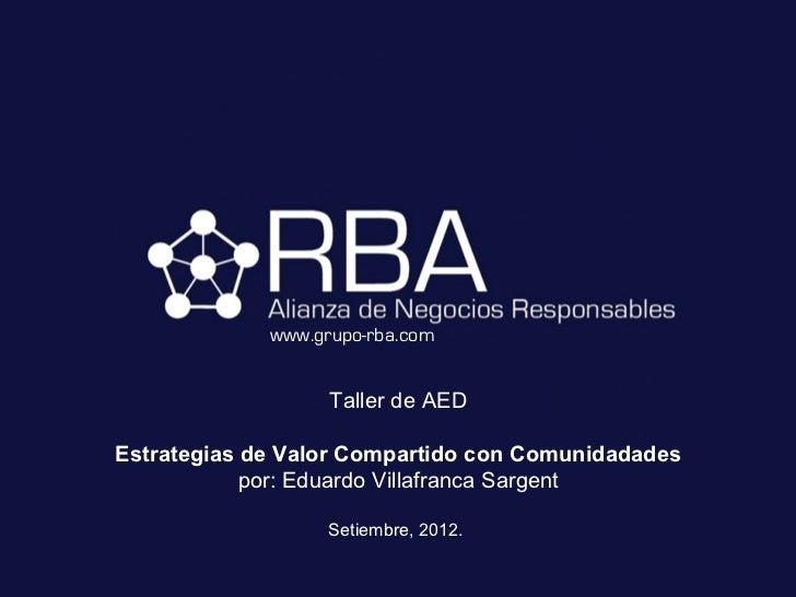 www.grupo-rba.com                   Taller de AEDEstrategias de Valor Compartido con Comunidadades            por: Eduardo...