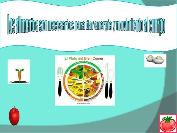 Los alimentos son necesarios para dar energía y movimiento al cuerpo<br />