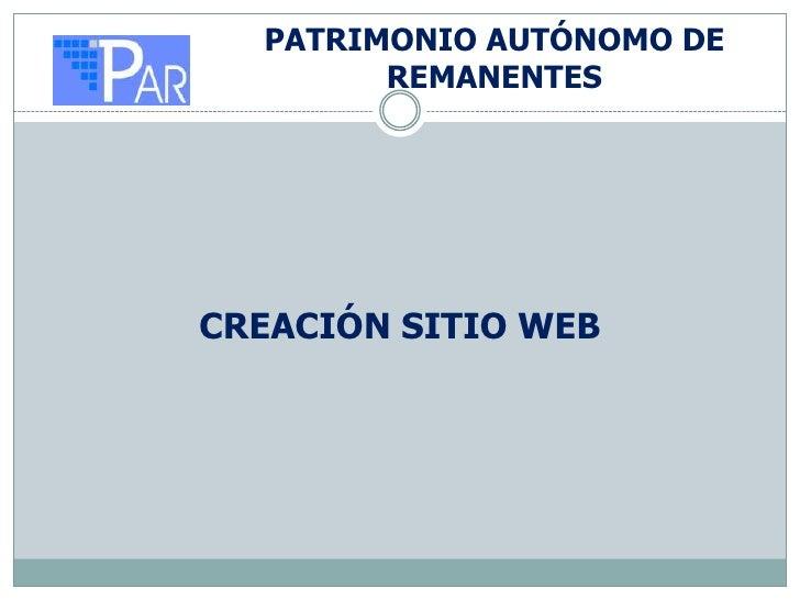PATRIMONIO AUTÓNOMO DE        REMANENTESCREACIÓN SITIO WEB
