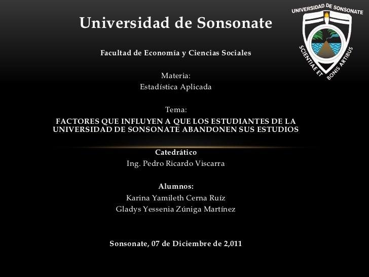Universidad de Sonsonate         Facultad de Economía y Ciencias Sociales                         Materia:                ...