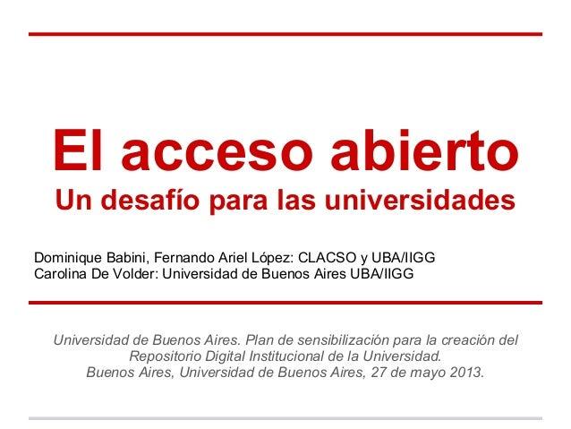 El acceso abierto. Un desafío para las universidades