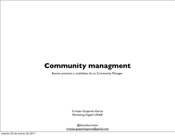 Community managment                                Buenas practicas y cualidades de un Community Manager                  ...