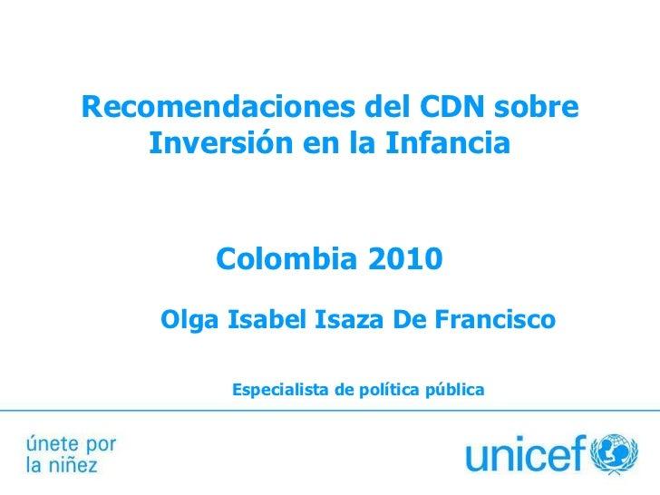 Recomendaciones del CDN sobre Inversión en la Infancia
