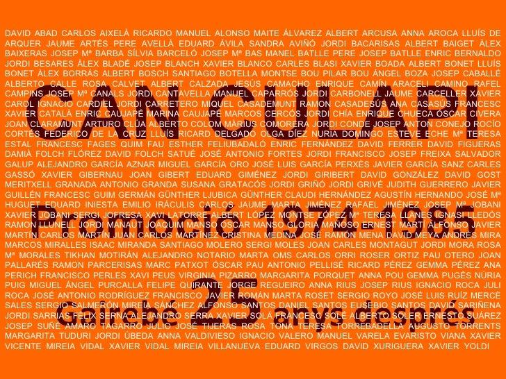 Gairebé  25  anys després CAN CULAPI Promoció 1974-1985 DAVID ABAD CARLOS AIXELÀ RICARDO MANUEL ALONSO MAITE ÁLVAREZ ALBER...