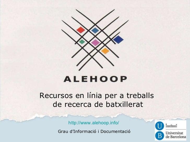 Presentacio alehoop 2012