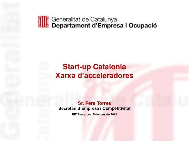 Identificació deldepartament o organismeStart-up CataloniaXarxa d'acceleradoresSr. Pere TorresSecretari d'Empresa i Compet...