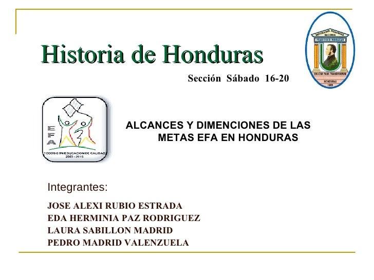 Historia de Honduras  Integrantes: JOSE ALEXI RUBIO ESTRADA  EDA HERMINIA PAZ RODRIGUEZ LAURA SABILLON MADRID PEDRO MADRID...