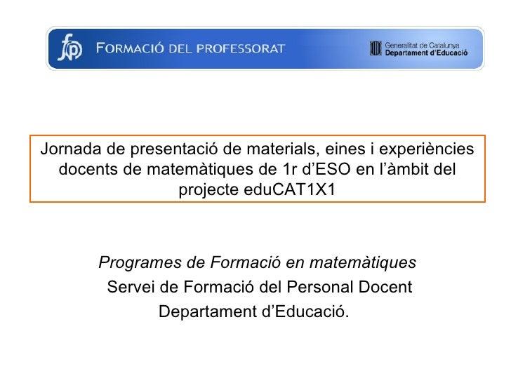 Programa de Formació en matemàtiques