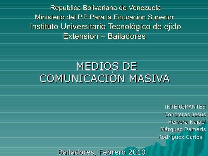 Republica Bolivariana de Venezuela Ministerio del P.P Para la Educacion Superior   Instituto Universitario Tecnológico de ...