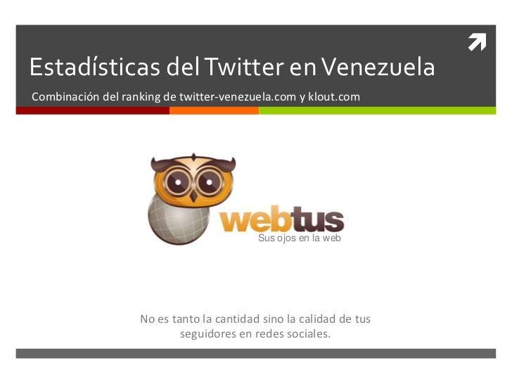 Estadísticas del Twitter en Venezuela<br />Combinación del ranking de twitter-venezuela.com y klout.com<br />Sus ojos en l...