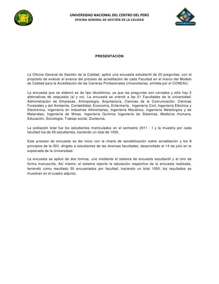 UNIVERSIDAD NACIONAL DEL CENTRO DEL PERÚ                              OFICINA GENERAL DE GESTIÓN DE LA CALIDAD            ...