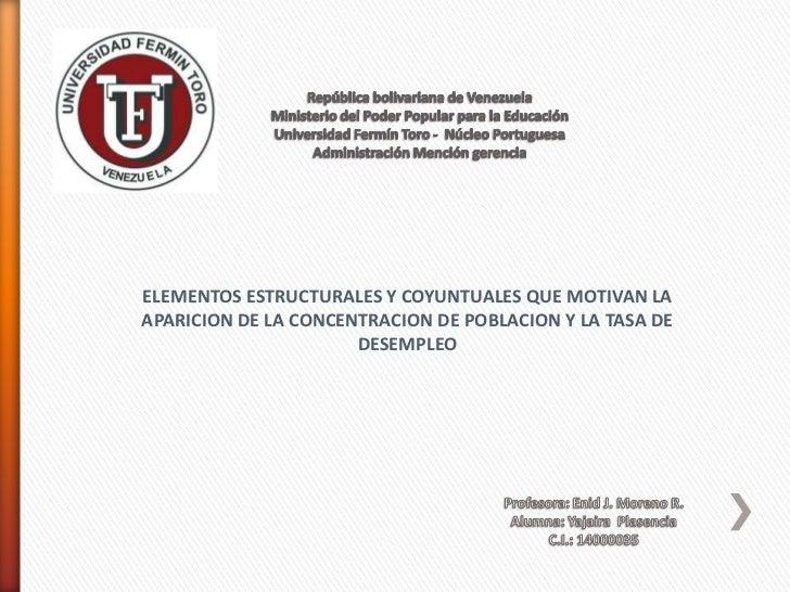 ELEMENTOS ESTRUCTURALES Y COYUNTUALES QUE MOTIVAN LAAPARICION DE LA CONCENTRACION DE POBLACION Y LA TASA DE               ...
